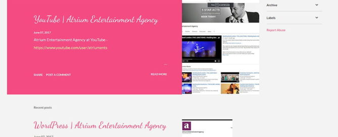 Atrium Entertainment at Blogger | Blogger Account for Atrium Entertainment Agency